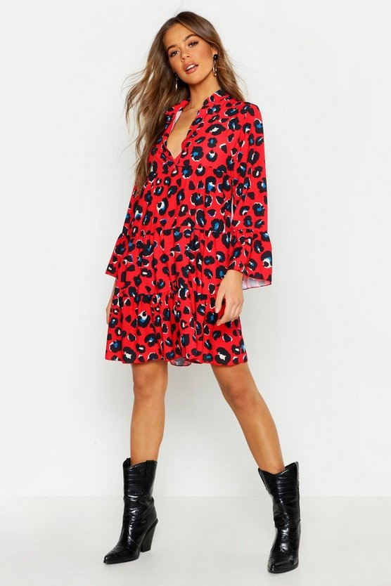 Womens Red Leopard Print Smock Dress
