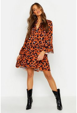 Rust Leopard Print Smock Dress