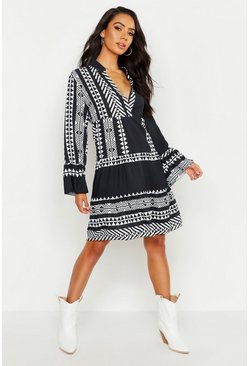 Womens Black Aztec Print Smock Dress