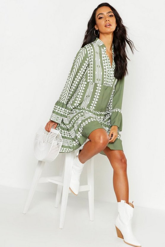 Womens Khaki Aztec Print Smock Dress