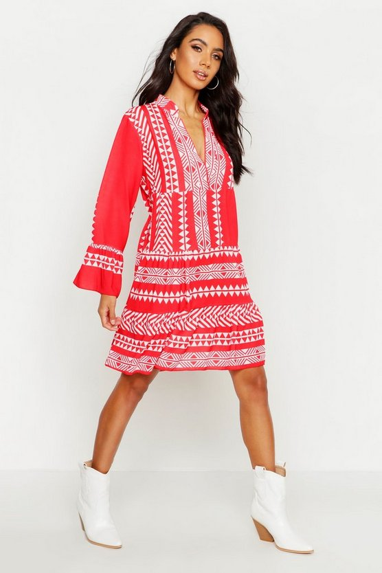 Womens Red Aztec Print Smock Dress