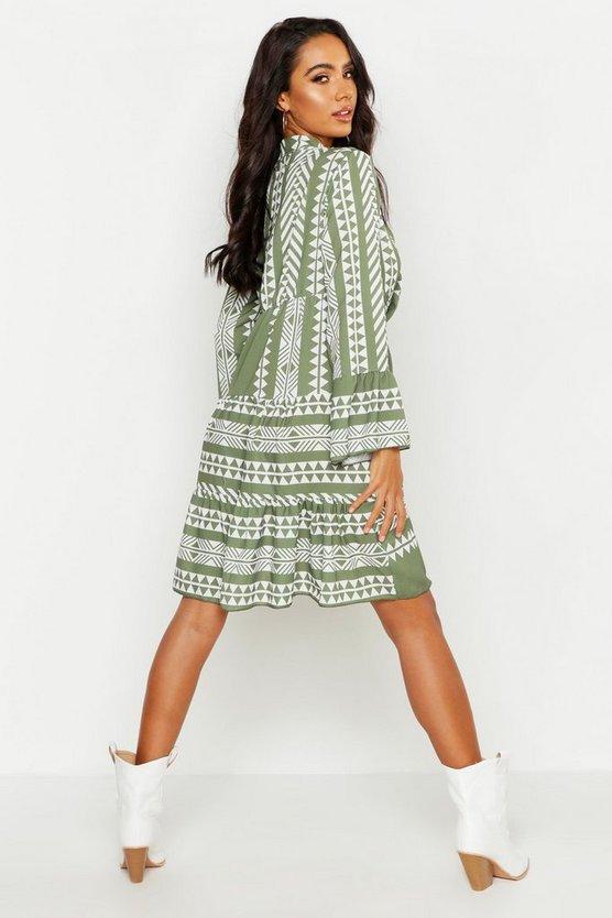 Aztec Print Smock Dress