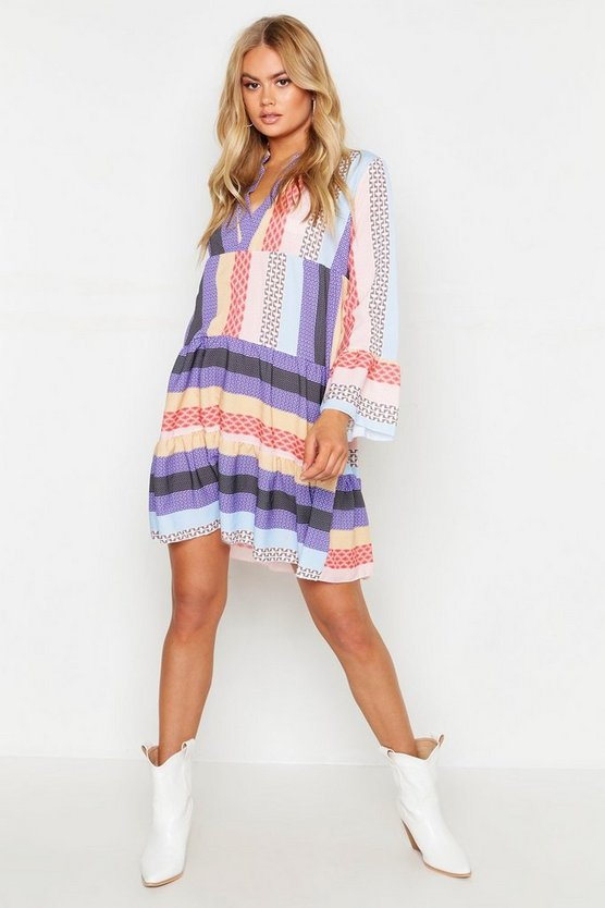 Purple Patchwork Smock Dress