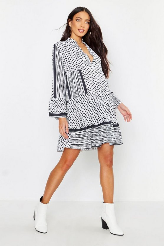 Black Tribal Print Smock Dress