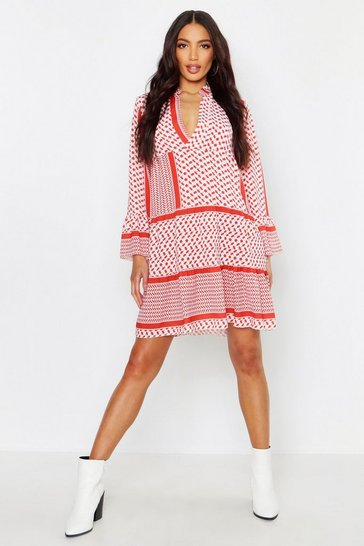 Womens Rust Tribal Print Smock Dress