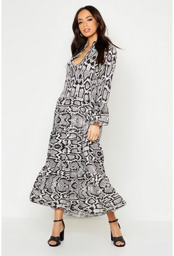 Womens Black Snake Print Maxi Smock Dress