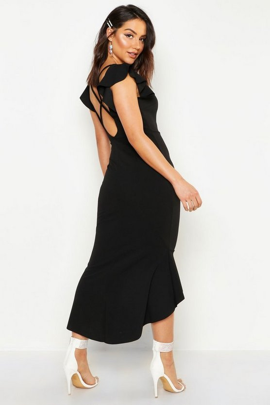 Womens Black Frill Detail Strappy Back Fishtail Midi Dress