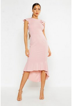 Blush Frill Detail Strappy Back Fishtail Midi Dress