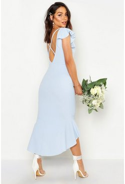 Womens Pastel blue Frill Detail Strappy Back Fishtail Midi Dress