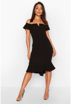 Womens Black Off The Shoulder V Bar Ruffle Hem Midi Dress