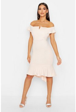 Womens Blush Off The Shoulder V Bar Ruffle Hem Midi Dress