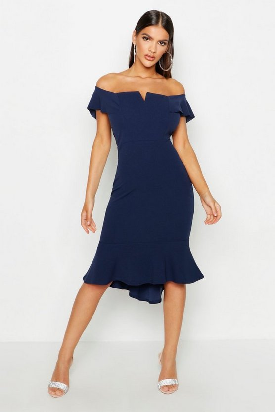 Navy Off The Shoulder V Bar Ruffle Hem Midi Dress