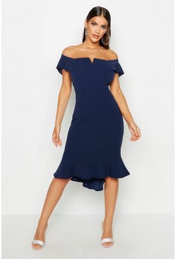 Womens Navy Off The Shoulder V Bar Ruffle Hem Midi Dress