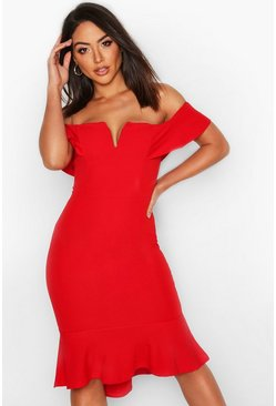 Womens Red Off The Shoulder V Bar Ruffle Hem Midi Dress