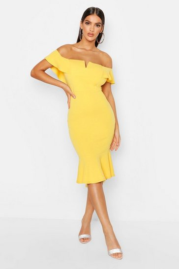 Yellow Off The Shoulder V Bar Ruffle Hem Midi Dress