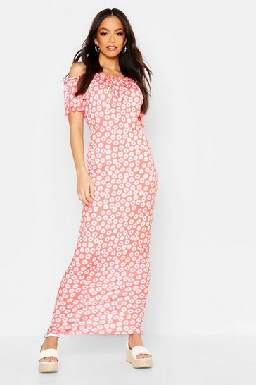 Womens Coral Off The Shoulder Floral Maxi Dress