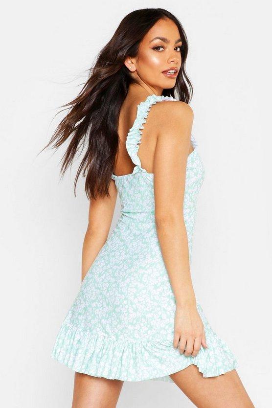 Ruffle Hem Floral Mini Dress