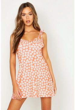 Womens Coral Tie Strap Bust Detail Floral Sun Dress