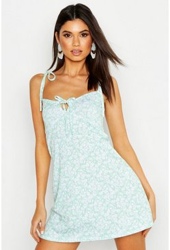 Womens Sage Bust Cup Detail Floral Fit & Flare Sundress