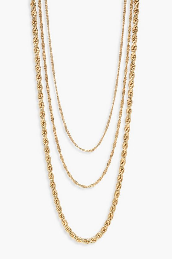 Gold Twist Chain Layered Necklace