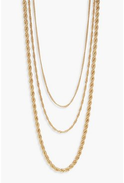 Womens Gold Twist Chain Layered Necklace