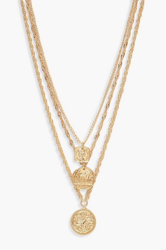 Womens Gold Square Medallion & Coin Layered Necklace