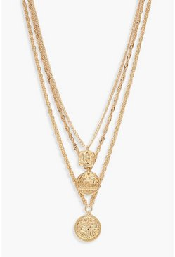 Gold Square Medallion & Coin Layered Necklace