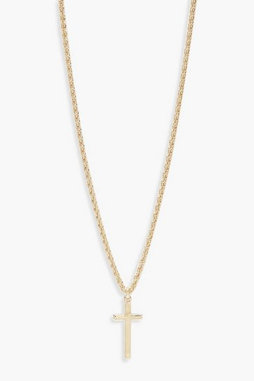 Gold Vintage Chain Cross Pendant Necklace