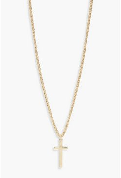 Womens Gold Vintage Chain Cross Pendant Necklace