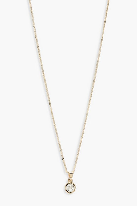 Womens Gold Diamante Pendant Necklace