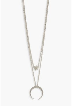 Womens Silver Diamante Moon & Star Statement Necklace