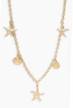 Womens Gold Seashell Charm Necklace