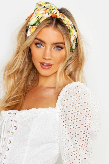 Womens White Fruit Print Woven Headscarf