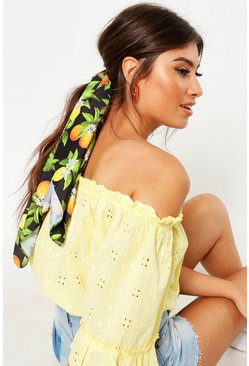 Womens Black Orange And Lemon Print Headscarf