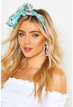 Womens Pink Palm Print Headscarf