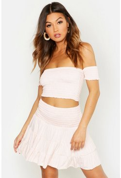 Womens Peach Shirred Bardot Top & Ruffle Skirt Co-ord