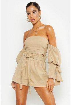 Womens Stone Linen Tailored Short