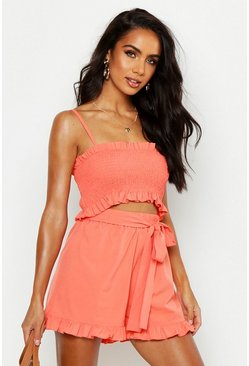 Womens Coral Shirred Ruffle Hem Top