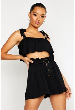 Womens Black Belted Horn Button Paper Bag Shorts