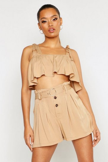 Womens Sand Belted Horn Button Paper Bag Shorts