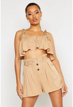 Sand O Ring Detail Tie Strap Frill Bralet