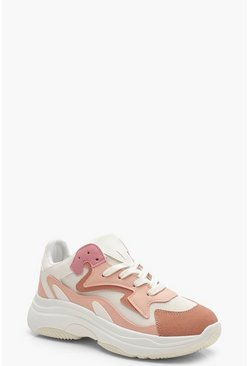 Womens Pink Mixed Panel Chunky Trainers