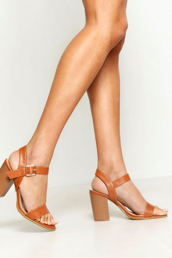 Tan Wide Fit Wooden Block Heel Sandals