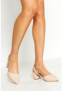 Womens Nude Wide Fit Block Heel Ballets