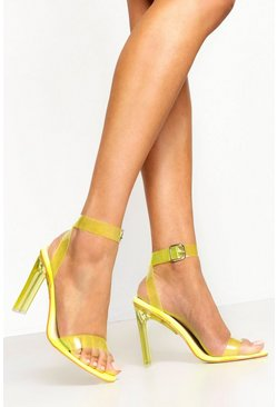 Womens Yellow Clear Heel 2 Parts