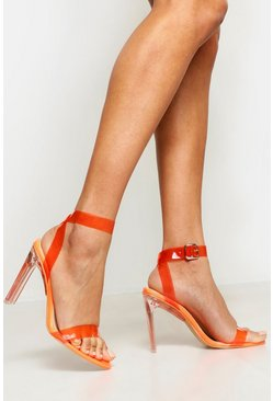Womens Orange Clear Heel 2 Part Heels