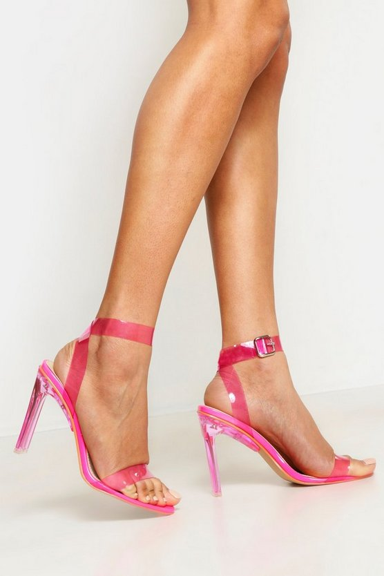 Womens Pink Clear Heel 2 Part Heels