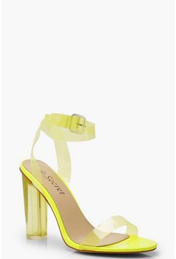 Womens Lime Clear Block Heel 2 Parts