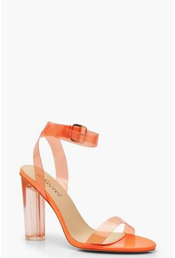 Womens Orange Clear Block Heel 2 Parts