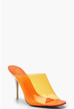 Womens Orange Clear Heel Peeptoe Mules